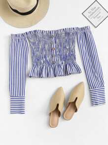 Off Shoulder Ruffle Hem Striped Blouse