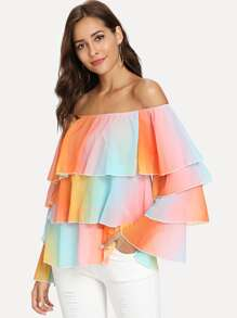 Off Shoulder Water Color Tiered Blouse
