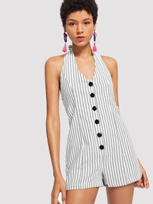 Single Breasted Striped Halter Jumpsuit