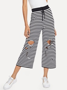 Striped Ripped Wide Leg Pants