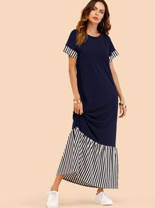 Vertical-Striped Patchwork Dress