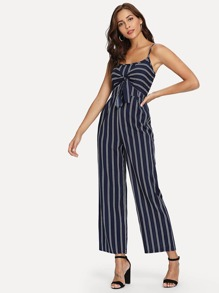 Striped Knot Front Cami Jumpsuit