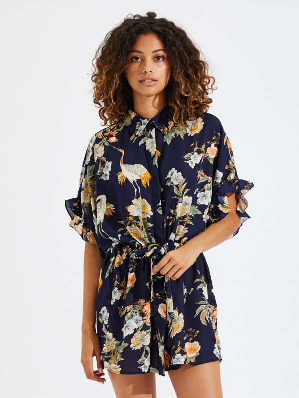 6464ea7188 Flower Print Ruffle Cuff Shirt Dress | SHEIN