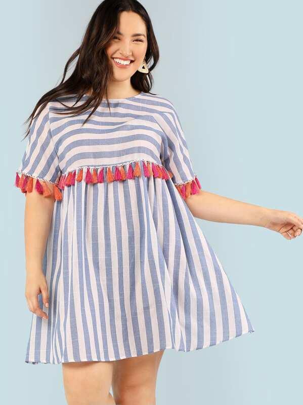 b81fa0c38537f Cheap Plus Tassel Embellished Striped Flowy Dress for sale Australia ...