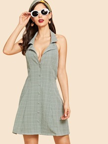 Cut Back Button Up Plaid A-Line Dress