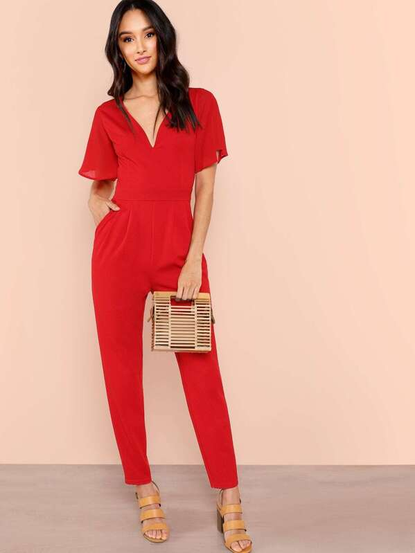 cbd7f710ca1 Slant Pocket Pleated Flutter Sleeve Jumpsuit