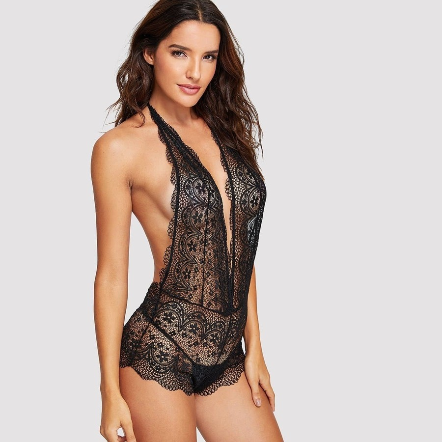 Scalloped Trim Floral Lace Teddy Bodysuit