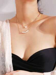 Faux Pearl Double Layered Chain Necklace