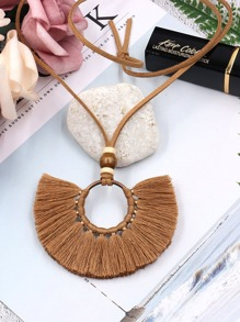Tassel Decorated Hoop Pendant Necklace