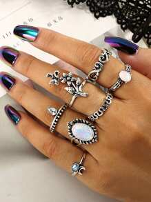 Flower Decorated Ring Set 7pcs