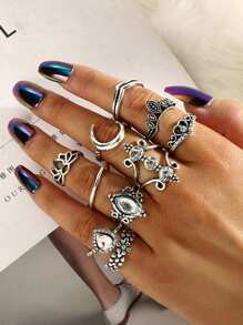 Moon & Lotus Ring Set 10pcs
