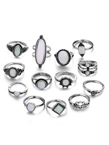 Gemstone Layered Ring Set 13pcs