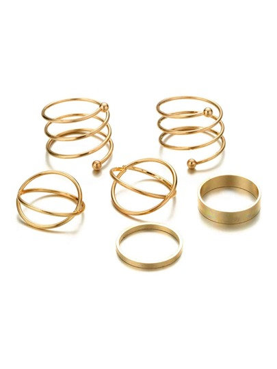 Spiral Design Layered Ring Set 6pcs