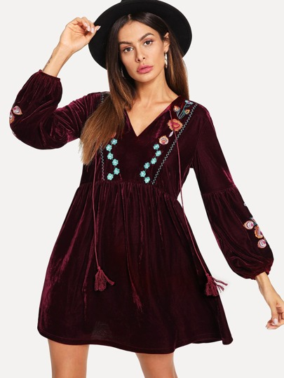 Floral Embroidered Tassel Tie Smock Velvet Dress