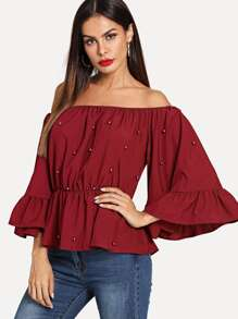 Off-Shoulder Beaded Ruffle Sleeve Top