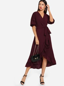 Solid Ruffle Hem Tie Waist Dress