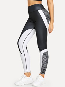 Colorblock Geo Print Skinny Leggings