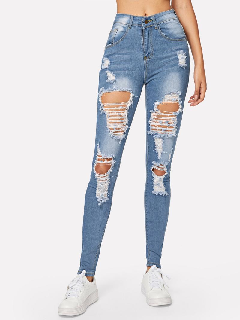 6de8ebb34ca3 Ripped Bleach Wash Skinny Jeans | ROMWE