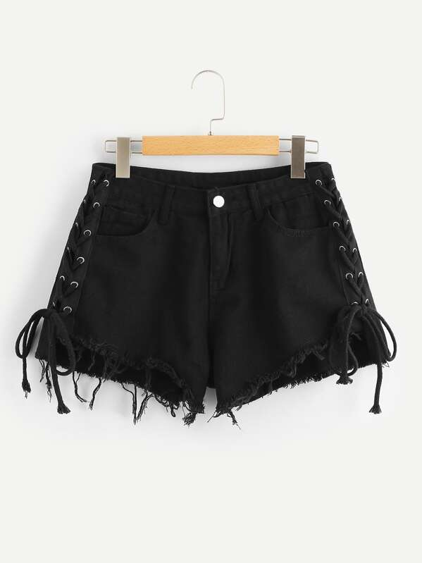 6eb17047fec6a2 Raw Hem Lace Up Denim Shorts