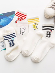 Striped & Letter Socks 5pairs