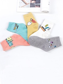 Cartoon Print Ankle Socks 5pairs
