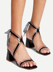 Bow Tie Block Heel Sandals
