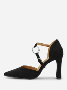 High Vamp Strap Detail Heels