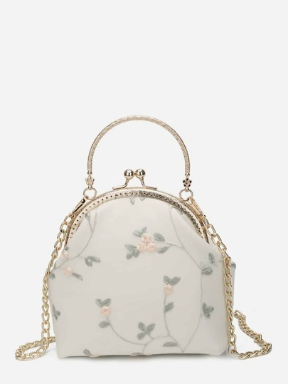 Floral Decor Kisslock Chain Bag