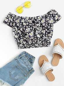 Off Shoulder Tie Neck Floral Blouse