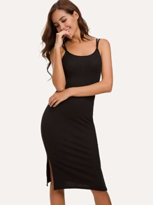 Cross Back Split Side Cami Dress