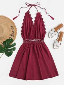 Guipure Lace Trim Fringe Halter Dress