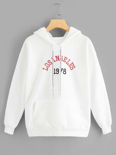 Letter Embroidered Graphic Drawstring Hoodie