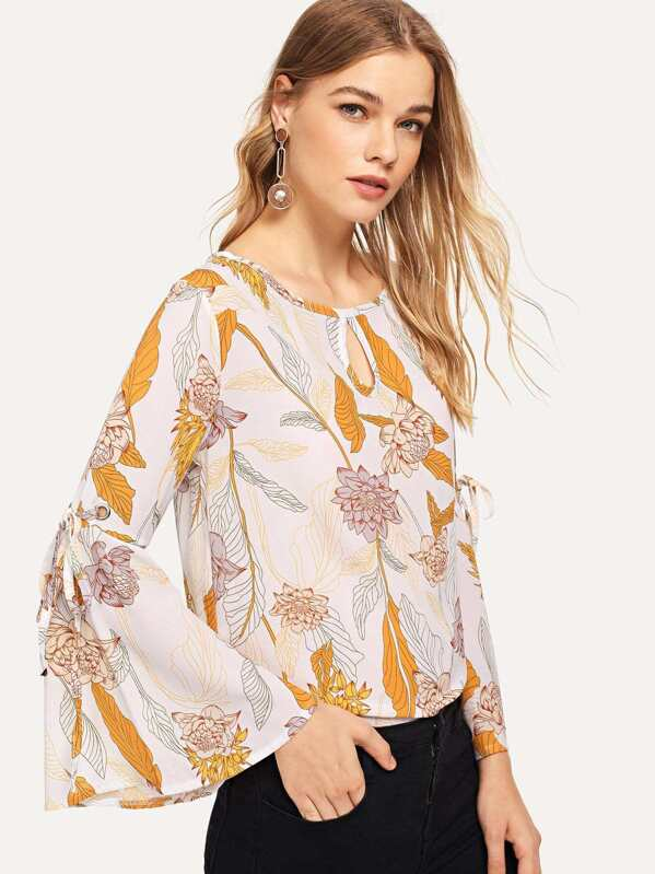 338501541fe91 الثوب أزهار طباعة قطع العقدة أكمام اللوتس قميص
