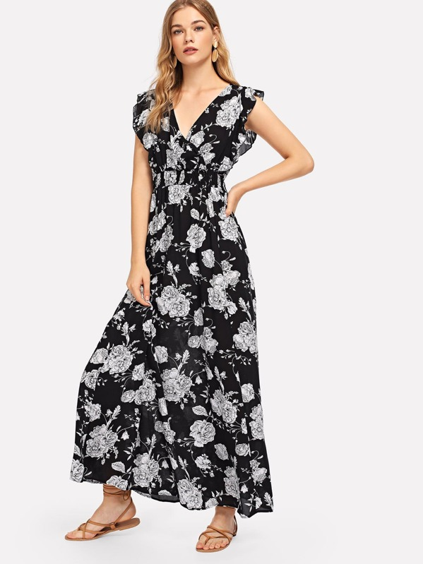 c1fcfce695dcf Ruffle Embellished Shirred Waist Floral Dress