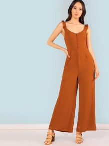 Ruffle Trim Button Front Jumpsuit