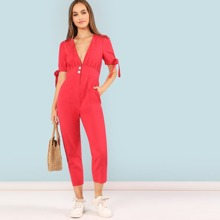 Knotted Puff Sleeve Button Waist Jumpsuit