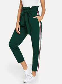 Ruffle Waist Striped Side Belted Pants