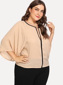 Plus Deep V Neckline Raglan Sleeve Top