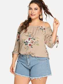 Plus Cold Shoulder Floral Print Blouse