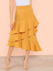 Layered Ruffle Hem Asymmetrical Skirt