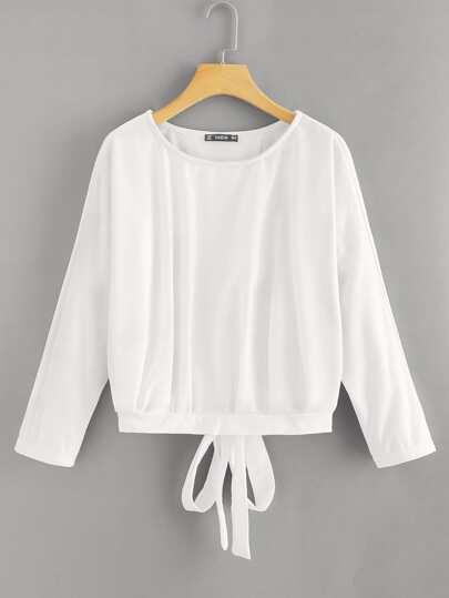 9b61a98616ace4 Overlap Tie Back Sweatshirt | SHEIN