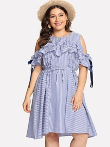 Plus Cold Shoulder Ruffle Striped Dress