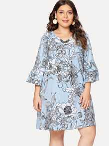 Plus Layered Sleeve Floral Print Dress