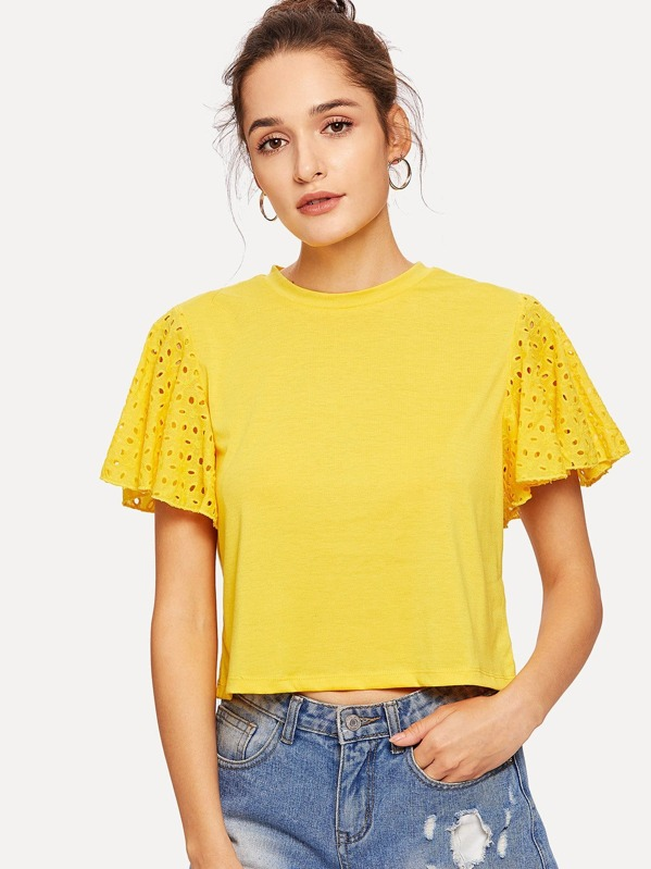 bd28c7ba2e4aec Boxy T-shirt with Eyelet Embroidered Flutter Sleeve | SHEIN