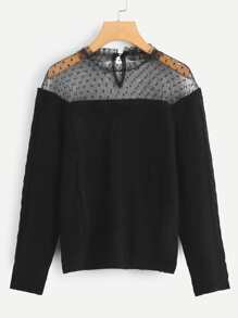 Contrast Mesh Sweaters