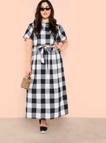 Plus Keyhole Back Plaid Crop Top and Skirt Set