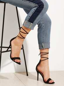 Two Part Ankle Lace Up Stiletto Heels