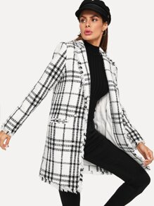 Notch Collar Frayed Edge Plaid Longline Coat
