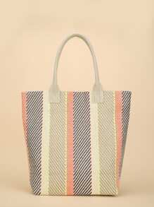 Block Striped Woven Tote Bag