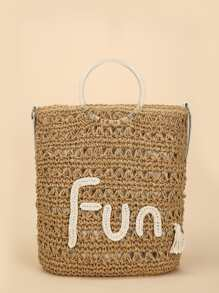 Contrast Slogan Straw Tote Bag